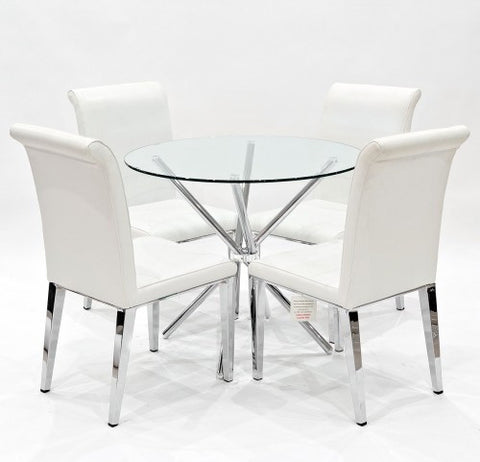 Criss Cross Glass Dining Set with 4 Kirkland White Dining Chairs