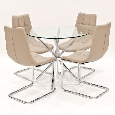 Criss Cross Glass Dining Set with 4 Menson Beige Dining Chairs