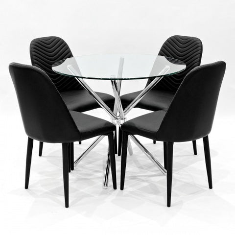 Criss Cross Glass Dining Set with 4 Riversway Black Dining Chairs