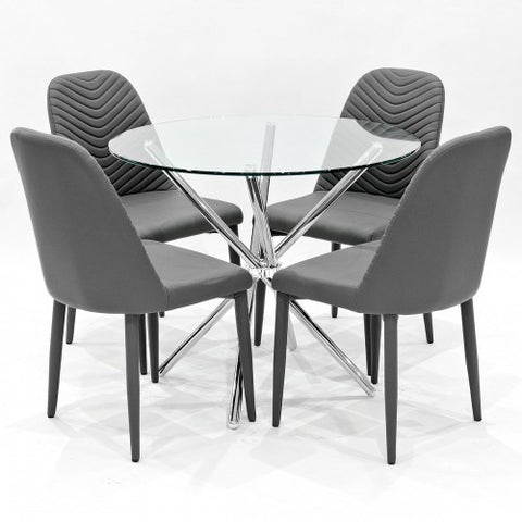 Criss Cross Glass Dining Set with 4 Riversway Grey Dining Chairs