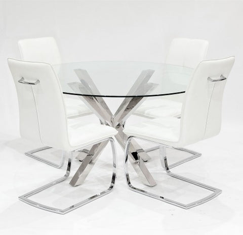 Crossly Glass Dining Set with 4 Belmont White Dining Chairs