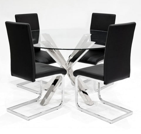 Crossly Glass Dining Set with 4 Brescia Black Dining Chairs