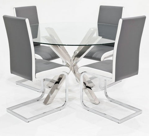 Crossly Glass Dining Set with 4 Brescia Grey Dining Chairs