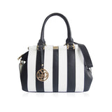 LYDC Black & White Striped Handbag