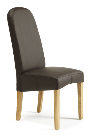 Marlow Dining Chair in Brown Faux Leather (2 Chairs Included)
