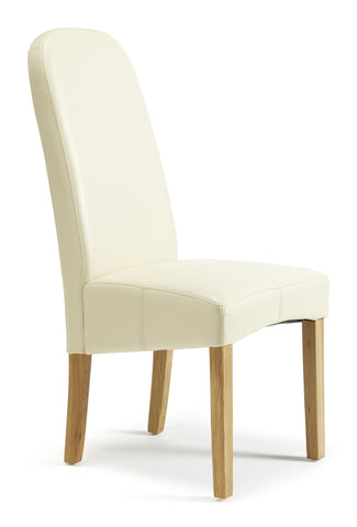 Marlow Dining Chair in Cream Faux Leather (2 Chairs Included)