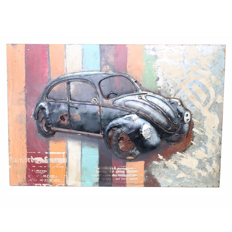 Retro Volkswagen Beetle 3D Metal Wall Art
