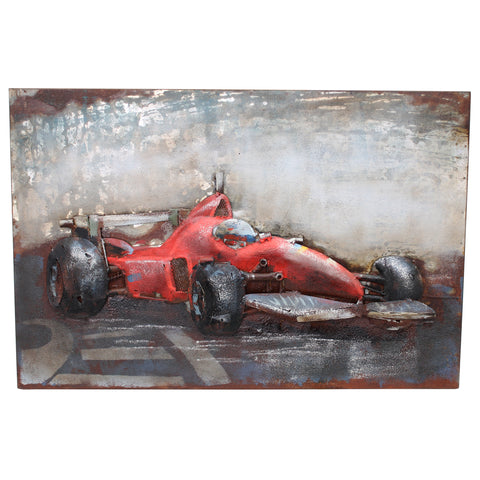 Racing Red 3D Metal Wall Art