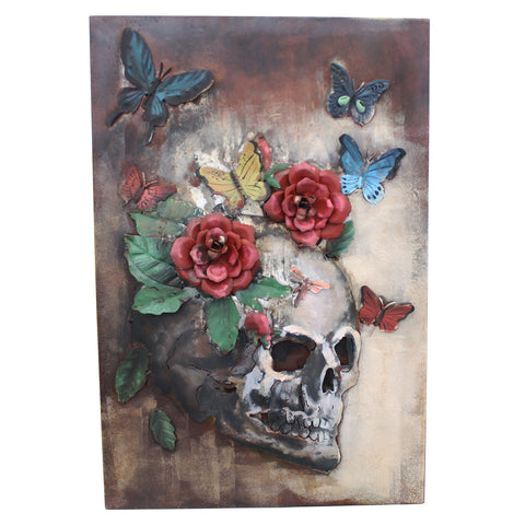 Floral Skull 3D Metal Wall Art