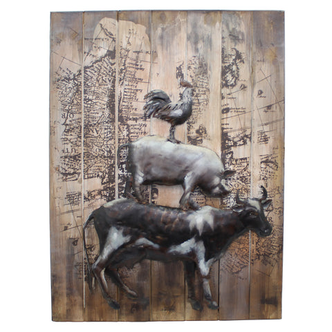 Farmyard Animals 3D Metal Wall Art