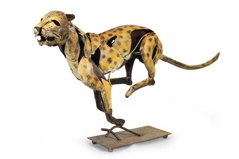 Sprinting Jaguar Metal Sculpture