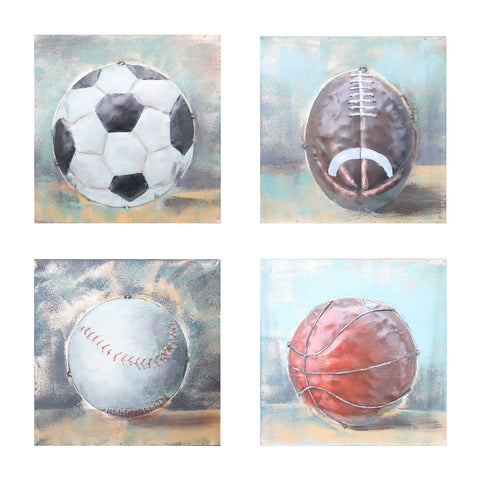 Set of 4 Balls of Sport 3D Metal Wall Art