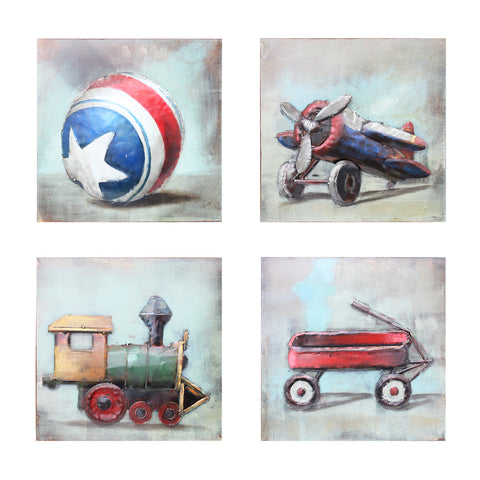 Set of Child's Toys 3D Metal Wall Art
