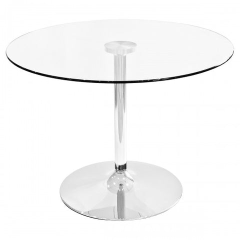 Clear Round Glass Dining Table (100cm)