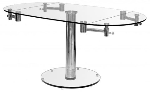 Glass Top Oval Extending Dining Table