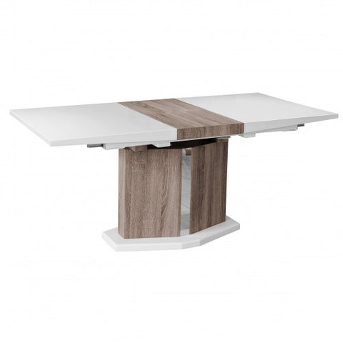 High Gloss White Extending Dining Table With Light Oak Wood Effect