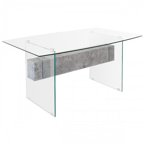 Glass & Stone Modern Dining Table