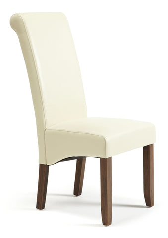 Kingston Dining Chair in Cream/Walnut (2 Chairs Included)