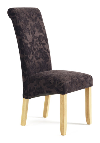 Kingston Dining Chair in Floral Aubergine/Oak (2 Chairs Included)