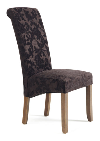 Kingston Dining Chair in Floral Aubergine/Walnut (2 Chairs Included)