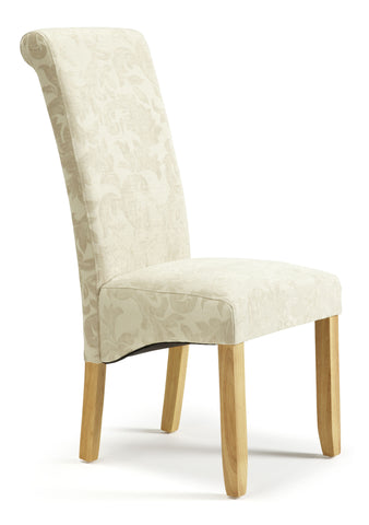 Kingston Dining Chair in Floral Cream/Oak (2 Chairs Included)