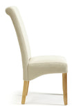 Kingston Dining Chair in Plain Cream/Oak (2 Chairs Included)