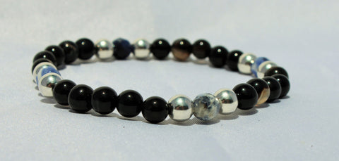 Faceted Sodalite x Genuine Silver x Black Agate