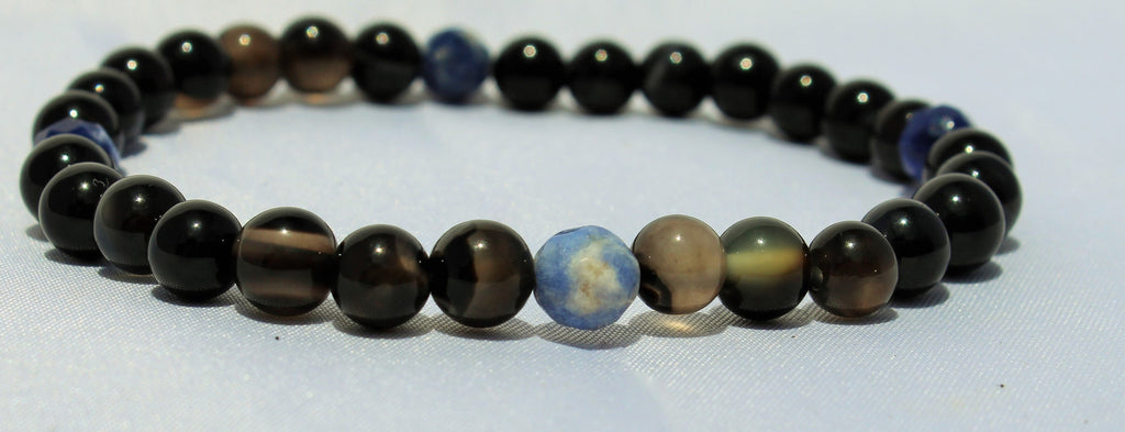 Faceted Sodalite x Black Agate