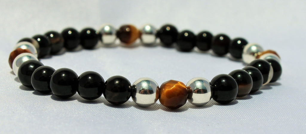 Faceted Tiger Eye x Genuine Silver x Black Agate