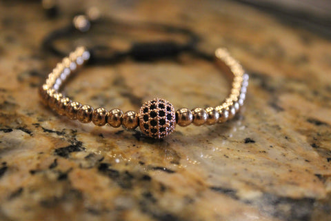 Macrame Black Zircon Diamond Rose Gold Plated Ball