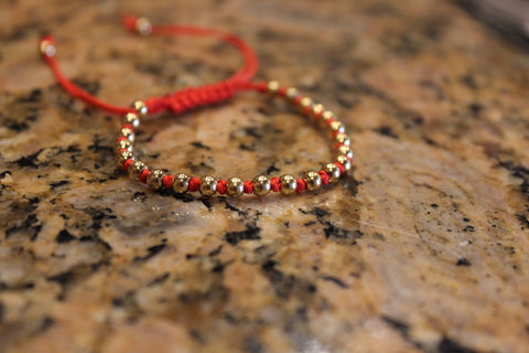 18kt Yellow Gold Plated Red Macrame Knot