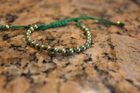 18kt Yellow Gold Plated Green Macrame Knot