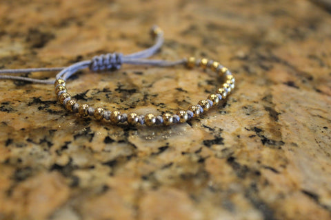 18kt Yellow Gold Plated Grey Macrame Knot