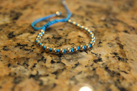 18kt Yellow Gold Plated Blue Macrame Knot