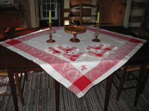 French Linen Damask in Deep Red and White