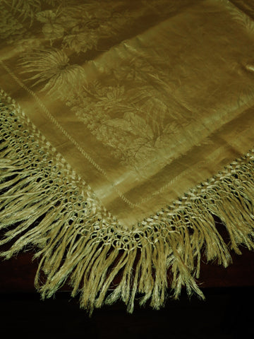 Fringed Linen Damask Banquet Cloth