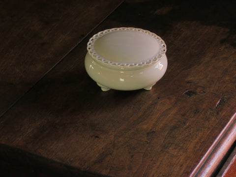 White Porcelain Footed Box @ Lace Edge