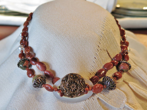 Lustre with Goldstone and Unakite