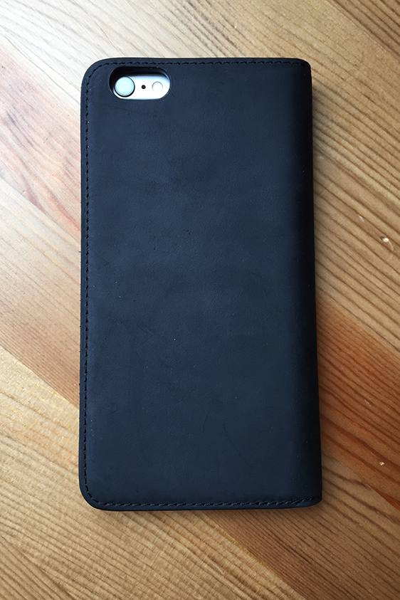 uk availability 61847 343a8 BLACK LEATHER FOLIO for iPhone 6 Plus / 6s Plus