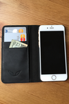 BLACK LEATHER FOLIO case for iPhone 6