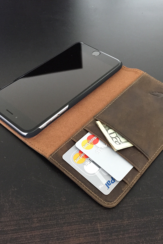 new arrival 8f7b2 b33eb BROWN LEATHER FOLIO for iPhone 6 Plus / 6s Plus
