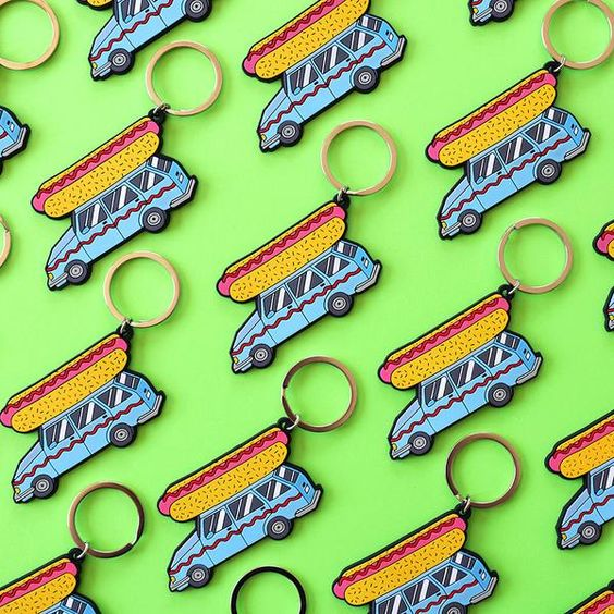 Hot Dog Car Key Chain Mustard Ketchup Paul Windle