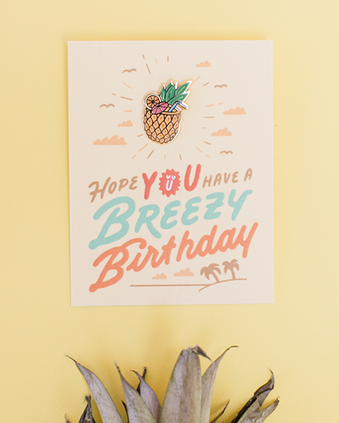 Breezy Birthday Enamel Pin Card