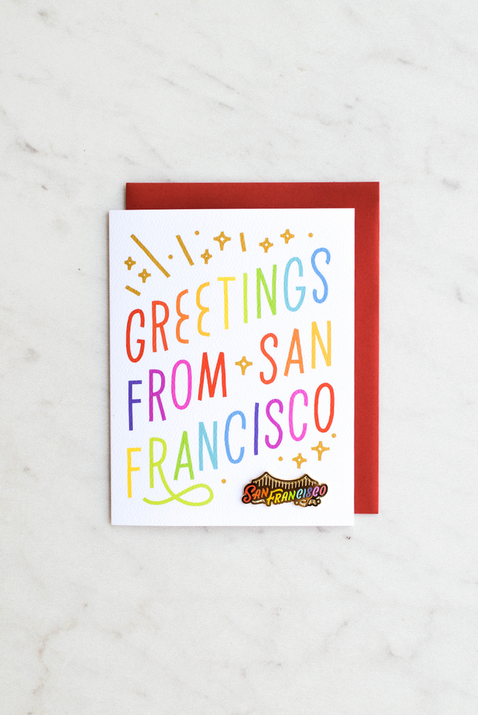 Greetings From San Francisco Enamel Pin Card