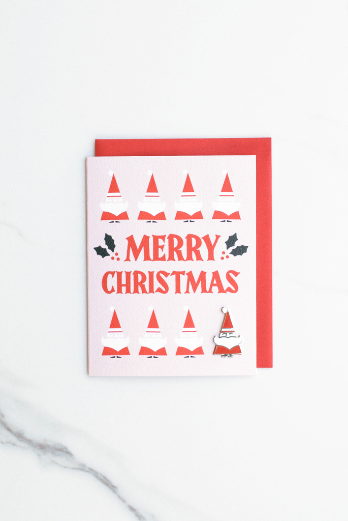 Merry Christmas Enamel Pin Card