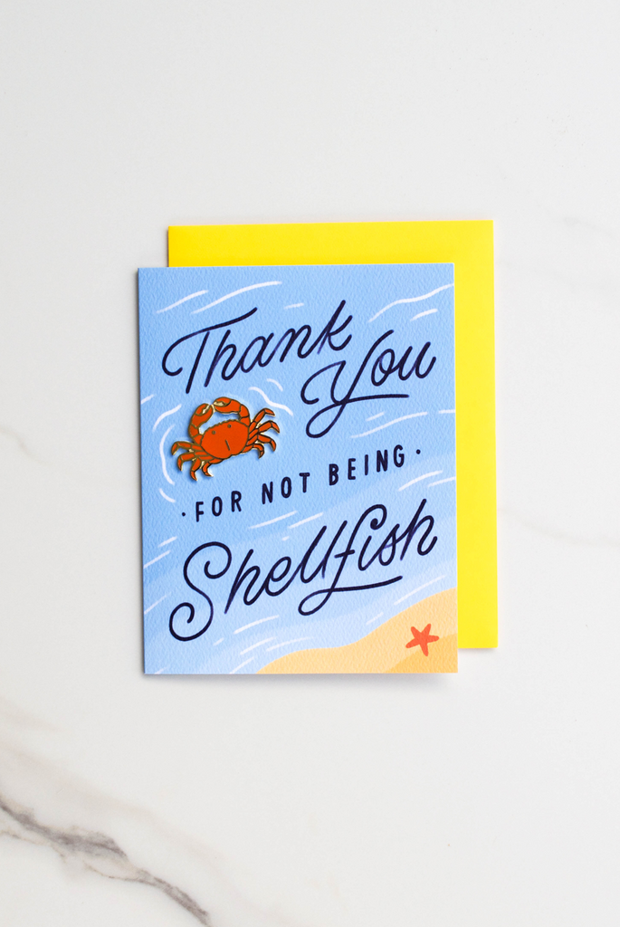 Shellfish Thank You Enamel Pin Card