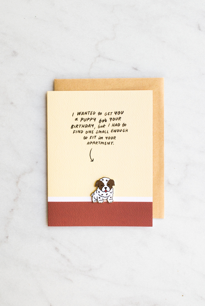 Puppy Love Birthday Enamel Pin Card