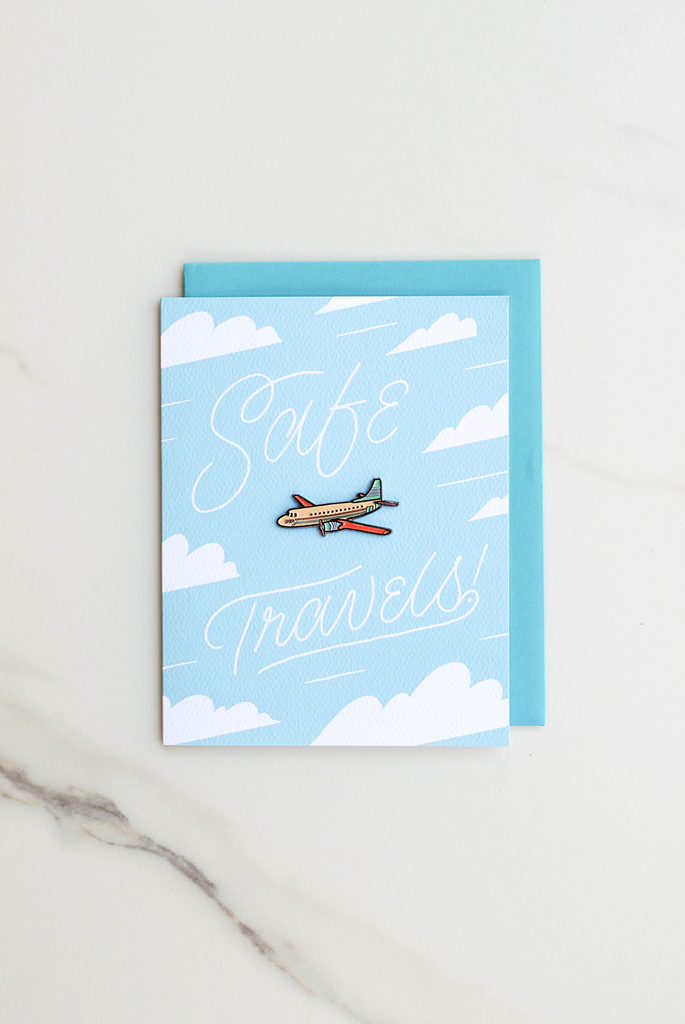 Safe Travels Enamel Pin Card