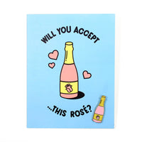 Rosé Card and Pin by Rachel Peck