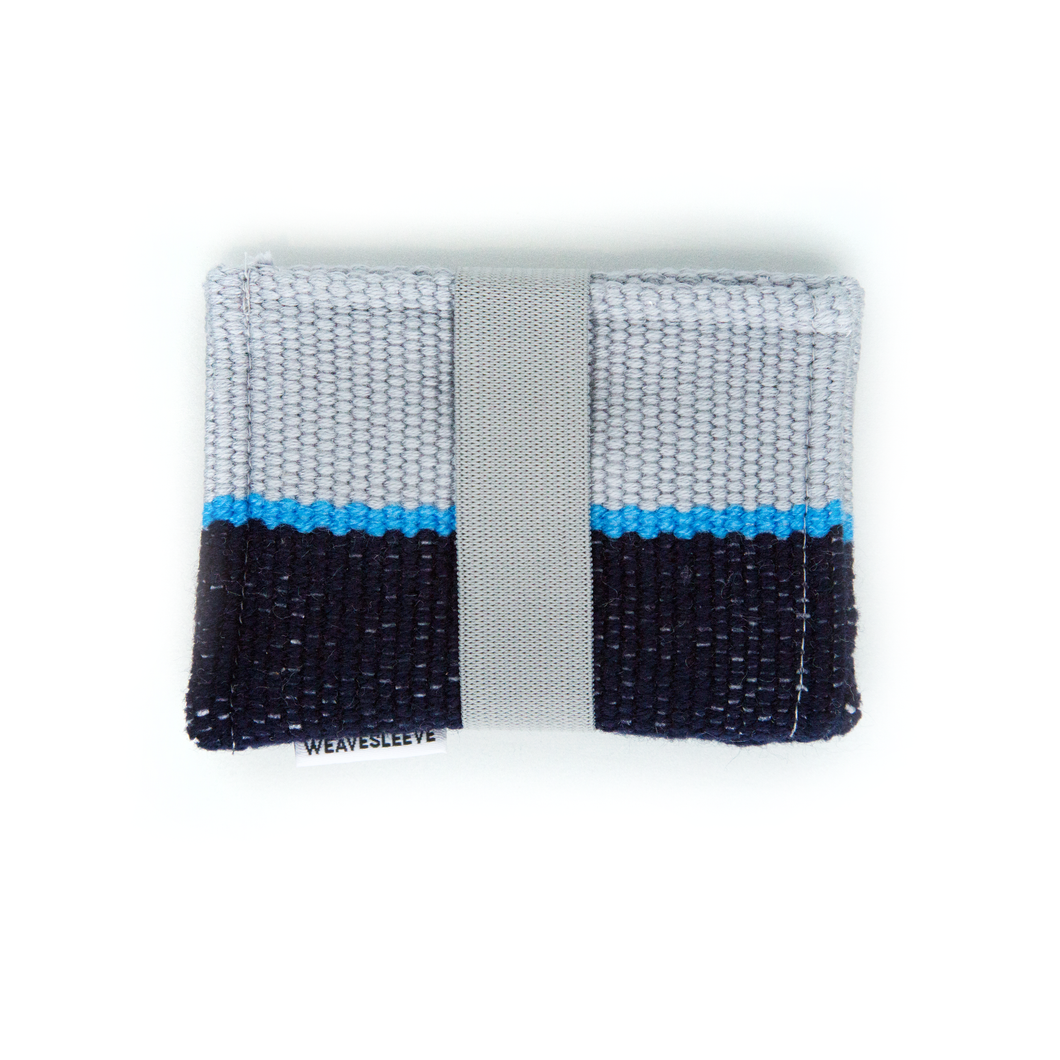 Gris y Azul Marino Two Pocket Wallet